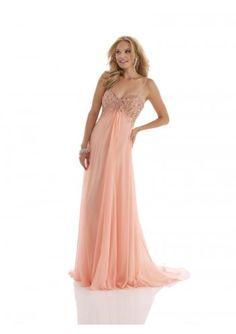 Princess Sweetheart Brush Train Pink Chiffon Evening Dress