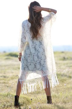 Lovely Cream Top - Kimono Top - Lace Top - Fringe Top - $69.00