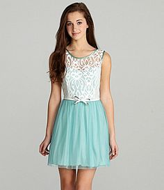 IN San Francisco Belted Lace Dress #Dillards