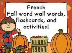 French fall word wall words, flashcards, and activities -