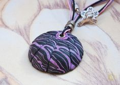 """Interesting hollow pendant made from polymer clay c unusual pattern """"Purple shell"""" by Etniika on Etsy"""