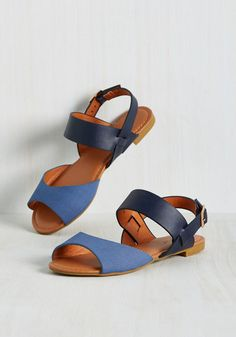 Boardwalk the Line Sandal in Blue. Its a shore bet - these navy sandals will always maintain balance between standout and versatile! #blue #modcloth