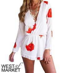 -NEW ARRIVAL-  Floral Romper Deep V-Neck Floral Romper in white! Please note measurements, item may run different from standard sizing: Waist - 27.5in (stretch), Bust - 34.6in. PLEASE COMMENT TO BUY THIS LISTING, I will make a separate listing for you! West Market SF Other