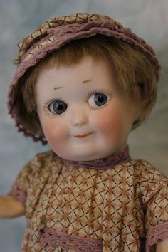 "Confident Wonderful 8"" Antique Am 254 Intaglio Eyed Googly Character Bisque Head Doll Bisque"