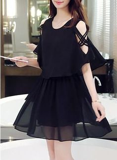 Chiffon Solid Half Sleeve Above Knee Casual Dresses Simple Dresses, Elegant Dresses, Pretty Dresses, Beautiful Dresses, Casual Dresses, Short Dresses, Fashion Dresses, Cute Fashion, Asian Fashion