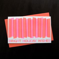 $16 Image of 1535B - bright holiday wishes letterpress card - set of 6