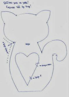 cat kitty stuffed soft toy pattern - ona Arte----Artesanato D