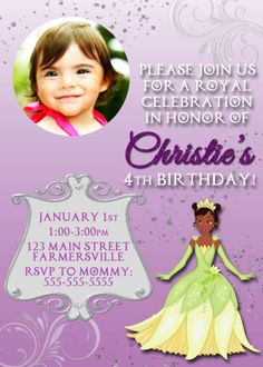 Princess and the Frog Princess Tiana Digital Printable Birthday Party Invitation or Postcard