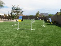 ProGreen's discusses some of the components to create the ideal backyard dog agility course, including artificial turf for dogs. Artificial Grass For Dogs, Artificial Turf, Pet Grass, Synthetic Lawn, Dog Runs, Dog Agility, Unique Photo, Backyard, Pets