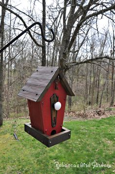 Unique bird feeder! A personal favorite from my Etsy shop https://www.etsy.com/listing/522199191/red-rustic-bird-feeder-the-cafe-wooden
