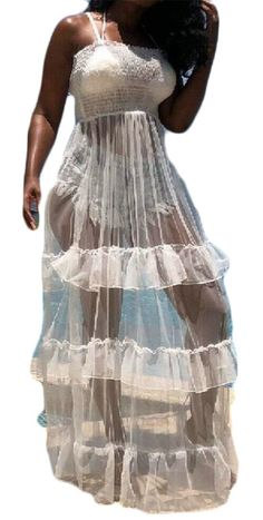 1ecd3ad662c Pivaconis Women Spaghetti Strap Ruffled Mesh Soft Transparent Swing Dress  White M  gt  gt