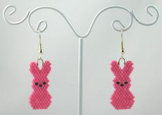 Beaded Peeps Pink Rabbit Earrings by LazyRose on Etsy