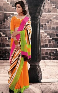 Picture of Amazing Orange Color Designer Saree for Party