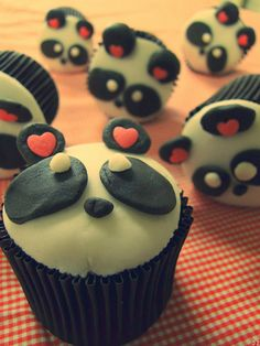 These panda Cupcakes are cute for 1 second.then creepy after looking at them! Panda Cupcakes, Yummy Cupcakes, Cupcake Cookies, Yummy Treats, Sweet Treats, Yummy Food, Tasty, Cute Food, I Love Food