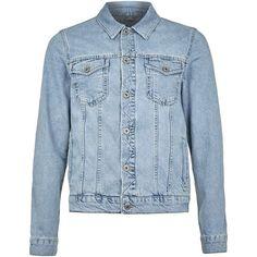 TOPMAN Light Wash Denim Jacket (76 CAD) ❤ liked on Polyvore featuring men's fashion, men's clothing, men's outerwear, men's jackets, blue, mens cotton jacket, mens blue jacket and mens blue jean jacket