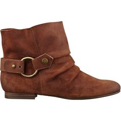 Nine West Thalassa Pull-On Booties ($40) ❤ liked on Polyvore featuring shoes, boots, ankle booties, booties, brown suede, brown leather ankle booties, faux leather boots, nine west booties, slouch ankle boots and short brown boots