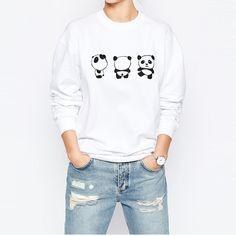HDY Haoduoyi Autumn Women Fashion Solid White Panda Print Casual Sweatshirt Long Sleeve Crew Neck Sweatshirt