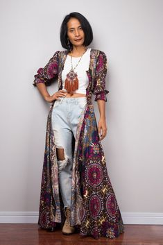 Boho Duster Dress | Garden Party Dress | Smocked Waist Dress with half sleeves | Gypsy duster Sexy Dresses, Casual Dresses, Duster Dress, Bohemian Summer Dresses, Holiday Outfits, Half Sleeves, Cute Outfits, Funky Outfits, Boho Fashion