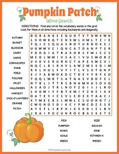 Pumpkin Word Search by Puzzles to Print Fall Word Search, Halloween Word Search, Halloween Words, Spirit Halloween, School Age Activities, Work Activities, Autumn Activities, Thanksgiving Worksheets, Worksheets For Kids