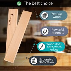 NATURAL WOOD KNIFE MAGNETIC STRIP 12 inch is made of ashtree. The best magnetic strip for knives kitchen. High quality kitchen knife holder, knife rack magnetic. Strong magnetic knife strips. ECO knife wall magnet rack.