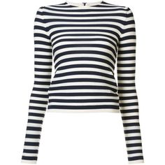 Sonia Rykiel striped T-shirt ($520) ❤ liked on Polyvore featuring tops, t-shirts, blue, stripe tee, pattern t shirt, white tee, stripe t shirt and patterned tops