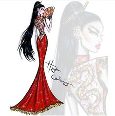Fashion Illustrations - Red Carpet Glam: 'Unleashed Dragon' by Hayden Williams. Inspired by tonight's theme China: Through the Looking Glass Disney Princess Fashion, Disney Princess Art, Princess Style, Disney Style, Hayden Williams, Trendy Fashion, Fashion Art, Girl Fashion, Paper Fashion