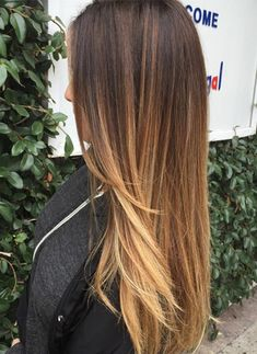 60 Hairstyles Featuring Dark Brown Hair with Highlights - Brown To Caramel Long Ombre Hair - Long Ombre Hair, Balayage Straight Hair, Brown Straight Hair, Blonde Balayage Highlights, Brown Ombre Hair, Brown Blonde Hair, Brown Hair With Highlights, Ombre Hair Color, Light Brown Hair