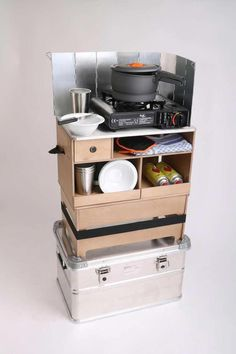 Kitchen on the go ✓ robust birch multiplex with ✓ high quality stainless ., on the go ✓ robust Birch Multiplex with ✓ high quality stainless steel plate, ✓ different designs and comprehensive equipment. Auto Camping, Camping Box, Camping Snacks, Camping Survival, Camping Gear, Camping Signs, Camping Packing, Camping Cabins, Camping Outfits