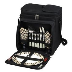 Fully equipped picnic basket cooler for two from our London Collection. Unique, divided Thermal Shield insulated cooler with separate sections for wine and food. Divider can be detached and folded to the back when a larger cooler space is needed. Easy drinks access panel in lid. The cooler is... - http://kitchen-dining.bestselleroutlet.net/product-review-for-picnic-at-ascot-insulated-picnic-basketcooler-fully-equipped-with-service-for-2-london-plaid/
