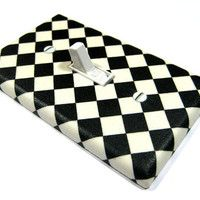 MADE WHEN ORDERED: Black and White Checkerboard Tile Light Switch Cover Modern Bathroom Kitchen Fifties Retro Diner Decor Switchplate