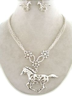 Western Cowgirl Silver Running Horse Chunky Necklace Earring Set Fashion Jewelry