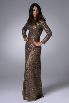 #Modest full length Sequin Gown with sleeves | Mode-sty