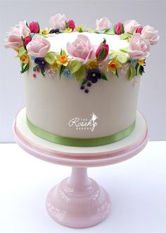 Springtime Anniversary Cake - cake by The Rosehip Bakery Gorgeous Cakes, Pretty Cakes, Cute Cakes, Amazing Cakes, Cake Icing, Buttercream Cake, Eat Cake, Fancy Cakes, Mini Cakes