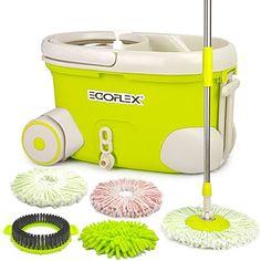 EGOFLEX Spin Mop Bucket System - Premium Microfiber Floor - http://freebiefresh.com/egoflex-spin-mop-bucket-system-review/