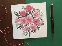 Roses & Azaleas Floral Greeting Card | Etsy #greetingcards #cards #etsy #etsyshop #daffodils #rose #foral #illustration #azaleas #roses #mothersday Colored Envelopes, Plant Illustration, Daffodils, Greeting Cards, Roses, Hand Painted, Colours, Etsy Shop, Illustrations