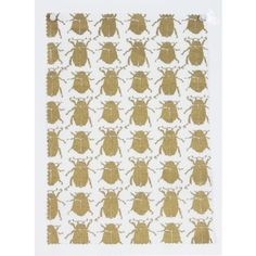Ivo fabrics scarab - gold on 100% linen in white Kew textile