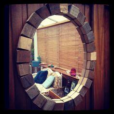 Reclaimed whisky block mirror