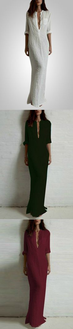 Look attractive with this casual long sleeve deep V neck dress. Get more from Minchic.com