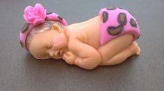 fondant baby/ fondant baby girl/ edible/ cupcake topper/ cake topper/ fondant topper/ baby shower/ fondant leopard