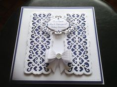 65th wedding anniversary card - that's sapphire! Sue Wilson Striplet and bows…