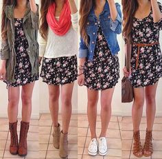 different ways to wear the same dress.