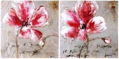 NEW 2pc Canvas Wall Art-streched over timber 50cm x50cm- Red  abstract flower