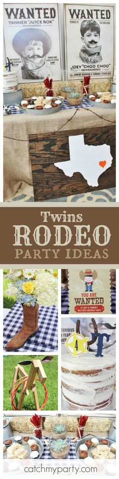 Yeehaw! Join in this Rodeo Birthday party for twins! The Wanted posters in the backdrop are so cute!! See more party ideas and share yours at CatchMyParty.com