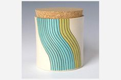 Wave Patterns  Add a bright, unexpected pop of color to your kitchen counter top. Medium Cork Jat by Paulova ($68 at Etsy)