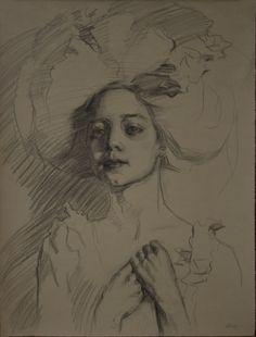 "Teresa Oaxaca - ""Hope"" 19x14"", charcoal with white chalk on Ingres paper"
