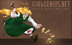 Girl Genius is rather awesome steampunk fantasy in comic form. One of my friends bought me the first four books years ago, and I haven't missed a new episode yet.
