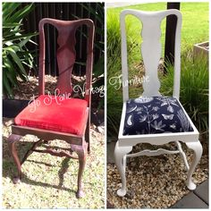 Before & After refurbished vintage Queen Anne style chair. Painted with Porters chalk emulsion 'snow white' botanic print fabric from IKEA. View more items I've refurbished on my Facebook page www.facebook.com/Jomarievintagefurniture