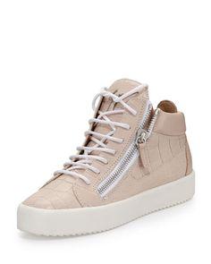 X2TNP Giuseppe Zanotti Croc-Embossed Leather Sneaker, Pale Pink (Pallido)