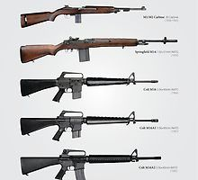 'Cold War Service Rifles of the United States' Poster by nothinguntried Military Weapons, Weapons Guns, Semi Automatic Rifle, Airsoft Sniper, Zombie Apocalypse Survival, Men Stuff, Metal Gear, Vietnam War, Cold War