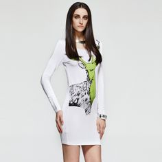 Animal Print Long Sleeves Dress in White http://everyFashion.storenvy.com